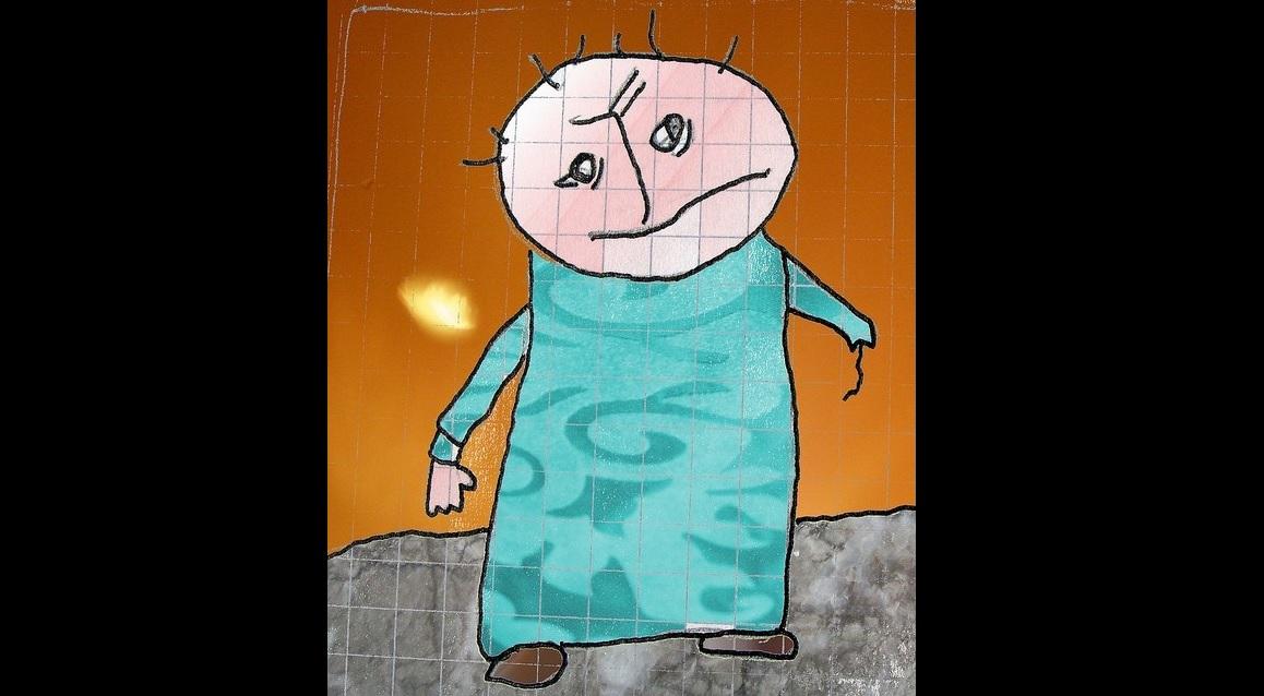 Tegning af person der mangler arm og ser ulykkelig ud
