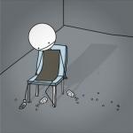 Tegneseriefigur der sidder med piller spredt omkring sig